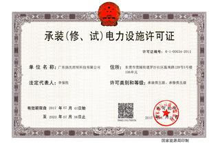 承装(修,试)电力设施许可证